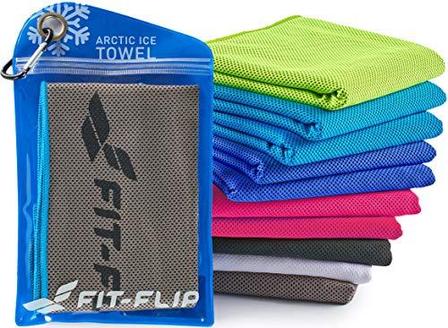 Fit-Flip Cooling Towel 100x30cm, Mikrofaser Sporthandtuch kühlend, Kühltuch, Cooling Towel, Mikrofaser Handtuch| Farbe: grau-blau, Größe: 100x30cm
