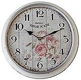 dekojohnson Wanduhr Marseille als Retro Dekouhr   Vintage Küchenuhr Rose rund 31 cm   Elegante Wohnzimmeruhr als Geschenkidee