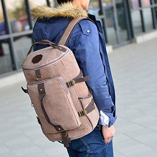 Wildlead Fashion Herren Großer Kapazitäts Reise Wandern Rucksack Bergsteigen Tasche Segeltuch Eimer Umhängetaschen kaffee