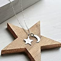 Personalised Sterling Silver Little Moon and Initial Star Necklace, anniversary gift, moon necklace, star necklace, celestial jewellery, birthday gift