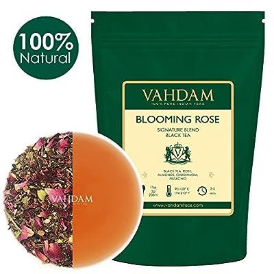 VAHDAM, thé de rose en fleurs (100 tasses) | 100% NATUREL, feuilles de thé noir, pétales de rose, amande, cardamome, pistache | DELICIOUS & AROMATIC Thé noir en vrac | Brew comme thé chaud ou glacé | 200gr