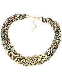 Damenmode Kettenschmuck Stricken geflochtene Kette Gold Tropfen Kurze Kette Halskette