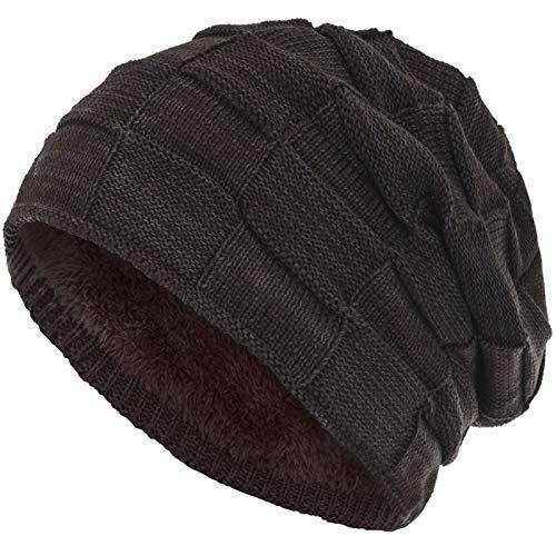 Compagno warm gefütterte Beanie Wintermütze Flechtmuster unifarben oder meliert Einheitsgröße Mütze, Farbe:Grau Braun meliert Fleece Beanie