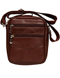 Raicon Brown Color Sling Bag Cross Body Bag In Genuine Leather For Mobile / Tablet / Mac