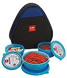 Cello Max Fresh Plastic Lunch Box Set, 3-Pieces, Blue (CMF_TRI LUNCH_BLUE)