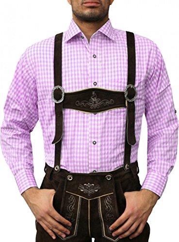 Trachtenhemd Trachtenmode aus Baumwolle für Trachten lederhose ROSA, Hemdgröße:3XL
