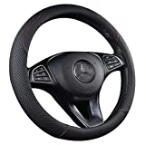 Car Steering Wheel Cover Universal Leather Breathable Non Slip Rhombus Cover for Vehicles