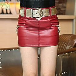 Falda de cuero de la PU,2XL red