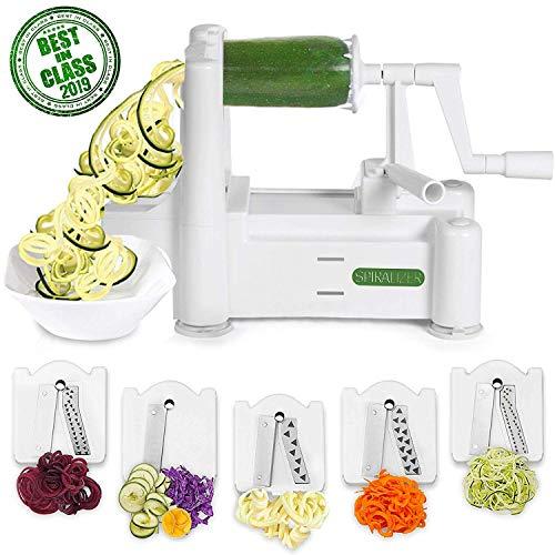 Spiralizer Gemüse-Slicer mit fünf Schneideaufsätzen, Supereffektiv, selbst für die schwierigsten Einsätze, der beste Gemüse-Pasta-Schneider