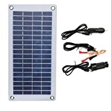 Nuzamas - Panel solar portátil de 12 V 8,5 W semiflexible con pinzas de cocodrilo y salida USB para batería de coche, carga de teléfono, mantenimiento al aire libre, camping, pesca, barco RV
