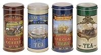 Lot de 3vintage nostalgique Style Thé Boîtes de rangement en 3designs–Thé noir, thé Darjeeling, Rooibus Asie Thé