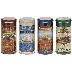 Set von 3Vintage Nostalgie Style Tee Vorratsdose in 3Designs–Schwarz Tee, Darjeeling Tee, rooibus Asia Tee