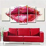 LAKHAFZY Impresiones Sobre Lienzo Sin Marco Resumen Labios Rojos decoración del hogar Pintura salón Comedor Dormitorio Cinco Pinturas consecutivas