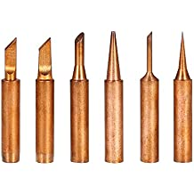 KKmoon 6PCS Punta de soldadura de cobre Sugerencia de soldadura de repuesto Cabezal de soldadura sin