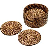 Master Class Artesà Bamboo Rattan Round Drinks Coasters with Holder, 10 cm (Set of 6)