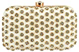 Tooba Handcrafted Designer Party Wear Box Clutch with Elegant Stone Work on Imported Leather Specially Designed for Women & Girls to Use in Parties/Wedding/Festivals/Casual and Special Evening (cream football challa 6x4)