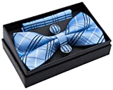 Retreez Herren Gewebte vorgebundene Fliege Tartan Plaid Karo Manier 13 cm und Einstecktuch und Manschettenknöpfe im Set, Geschenkset, Weihnachtsgeschenke - blau