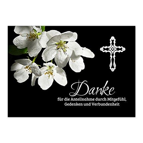 15 x Trauerkarten Danksagung (mit Text) und 15 Umschlägen im Set - Danke nach Trauer, Beerdigung, Sterbefall, Friedhof, Begräbnis