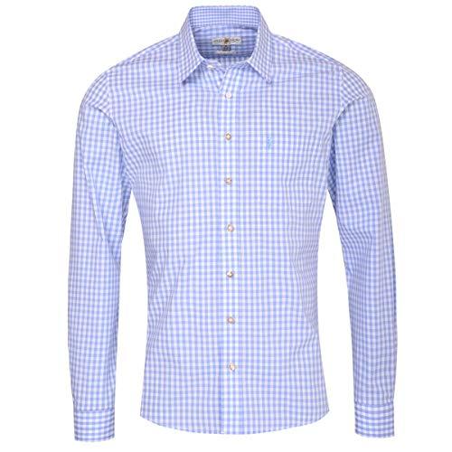 Almsach Herren Trachtenhemd Slim-Fit Slim-Line Trachten-Mode traditionell-kariert s-XXL viele Farben, Größe:XL, Farbe:Hellblau