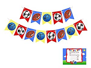 Easycraftz Sprts Theme Birthday Banners With Invitation Cards (Red)