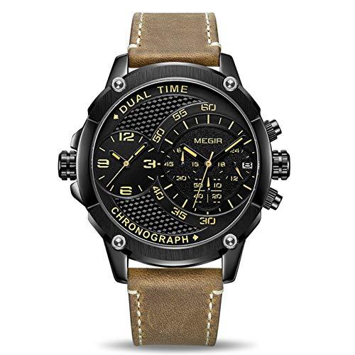 SBDONGJX Chronographe Sport Montre À Quartz Hommes Double Fuseau Horaire Hommes Montres Créatif en Cuir Armée Militaire Montre-Bracelet Horloge Heure