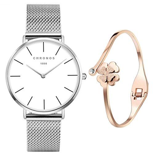 XLORDX Classic Damen-Armbanduhr Zeitloses Design Analog Quarz Silber Edelstahl Armband, Weiß Zifferblatt...