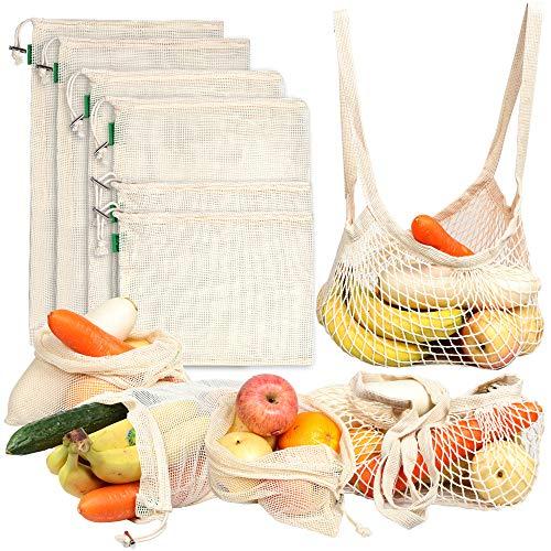 AivaToba Obst und Gemüsebeutel, Brotbeutel Wiederverwendbare Einkaufsnetz, Bio-Baumwollfruchttaschen 8 PCS -