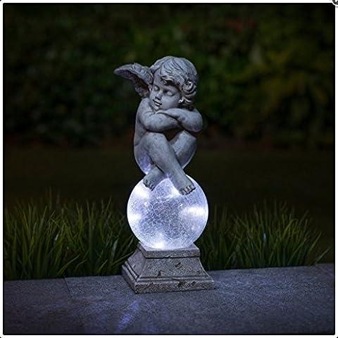 MadeInAngleterre Garden Pierre de décoration Statue d'ange avec boule en verre lampe solaire [Figurines de chérubins non garantie]