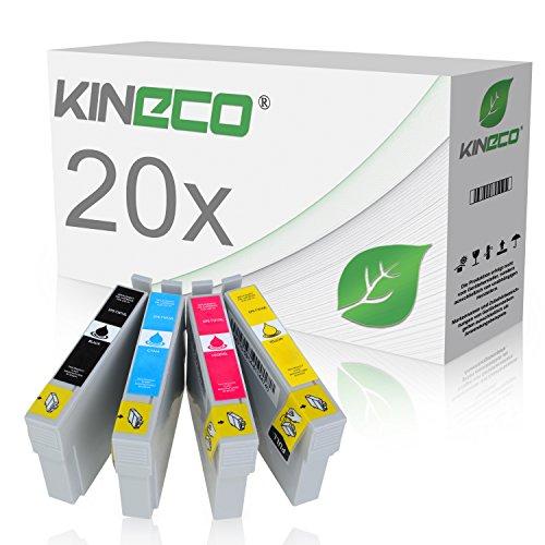 20 Tintenpatronen Kompatibel zu Epson T1811 T1812 T1813 T1814 für Epson Expression XP-322 Expression XP-325 Expression XP-215, Expression XP-305 315 405WH 415 - Schwarz je 18ml, Color je 14ml