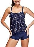 Azue 2 Teile oder 3 Teillig Tankini Set mit Shorts Sportlish Strand Badeanzug Racerback Bademode Schwimmanzug für Damen Blau EU 44-46 (Tag XXL)