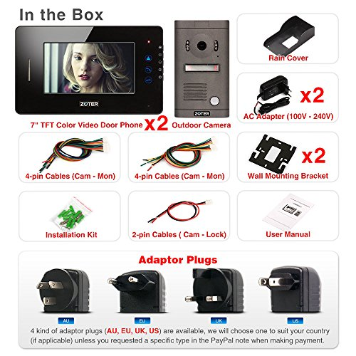"""Generic 7"""" inch Touch Key Color LCD Wired Video Door Phone Doorbell Home Entry Intercom System Kit 2 Monitor 1 Camera Night Vision 705D2 (Black)"""