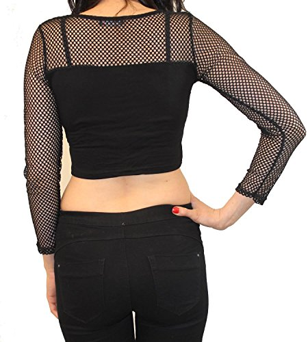 Neu Damen Lange Hülse Mesh Einfügen See Through Fischnetz Sommer Crop Tops 36-42 Black