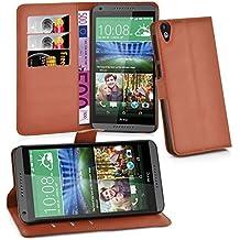 Cadorabo - Funda HTC DESIRE 820 Book Style de Cuero Sintético en Diseño Libro - Etui Case Cover Carcasa Caja Protección (con función de suporte y tarjetero) en MARRÓN-CHOCOLATE