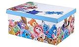 Aufbewahrungsbox Box Ordnungsbox Pappe Karton Deko-box mit Deckel und Hand-griff 37x31x16cm modern verspielt bunt Kuscheltiere weiß blau grün gelb rosa