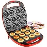 VonShef Deluxe 12 Hole Electric Doughnut Maker Donut Snack Machine, 1400W, Red, 2 Year Free Warranty