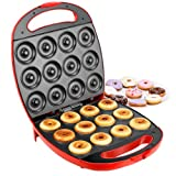 VonShef Deluxe 12 Hole Electric Doughnut Maker Donut Snack Machine, 1400W, Red