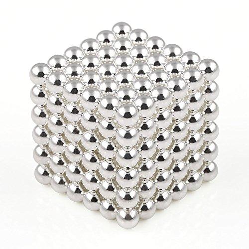 OMO 216 magnet kugel würfel Ø 5,0 mm Neodym vernickelt N42 - hält 400 g (Silber)