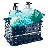 InterDesign Basic corbeille rangement, petit panier salle de bain en plastique pour accessoires de douche et soins, bleu marine