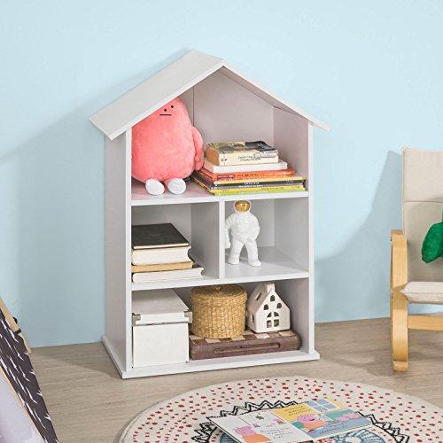 SoBuy KMB02-W Bücherregal für Kinder Hausform Kinderregal Aufbewahrungsregal Bücherschrank mit 4...