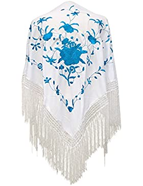 La Señorita Mantones bordados Flamenco Manton de Manila blanco con flores azul