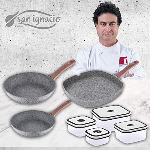 San Ignacio Set 3 sartenes Granito + 4 recipientes