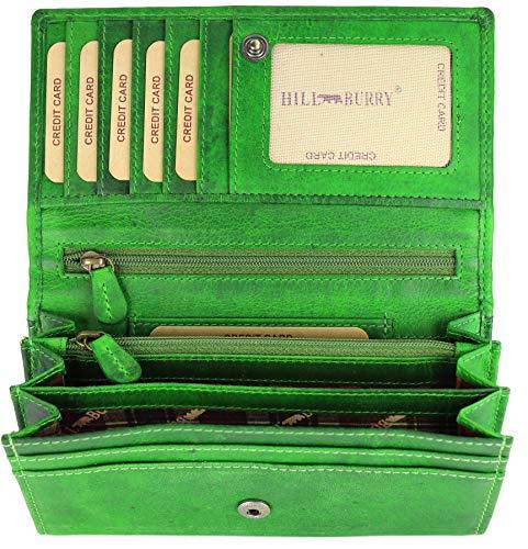Hill Burry hochwertige Vintage Leder Damen Geldbörse Portemonnaie langes Portmonee Geldbeutel aus weichem Leder in grün - 17,5x10x3cm (B x H x T) -