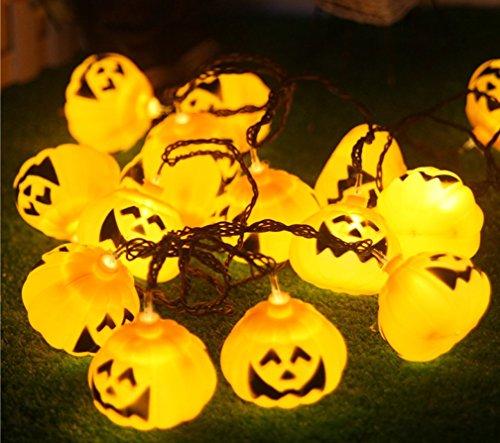 Bellabrunnen 5m 20er LED Halloween Lichterkette Warmweiß Kürbis Setcker Type 3D Deko (Dekorationen Hof Weihnachten Aufblasbar)