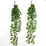 JNCH 2 Stück 90cm Efeugirlande künstlich Hängende Efeu Rebe Pflanzenblätter für die Dekoration von Hochzeit Garten Wand Hause