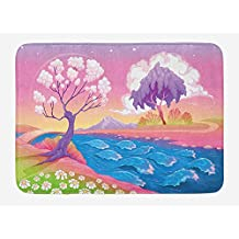 ziHeadwear Fantasy Bath Mat, Astral Landscape with Fictional Fantasy Trees and River Waves Daisy Magical