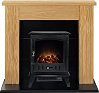 Adam Chester Stove Suite in Oak with Aviemore Electric Stove in Textured Black, 39 Inch