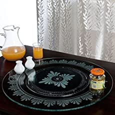 Sri Shubham Abs Plastic Base and Toughened Glass Top JVS Lazy Susan, 18 Inches (Flora, SRI3)