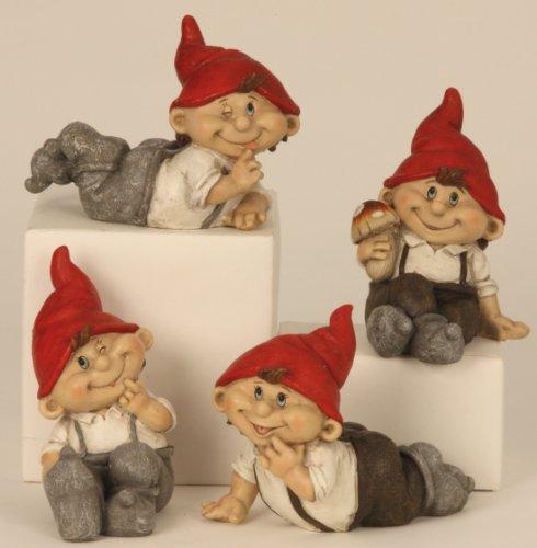 4 lustige Gnome Zwerg Gartenzwerg 15 cm rote Mütze Figuren für Haus und Garten