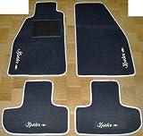 ALFA ROMEO SPIDER 916ab '95bis' 06Teppiche für Auto schwarz mit Rand grau Perle, Komplettset-Gummimatten passgenau mit Stickerei Flagge Bianco