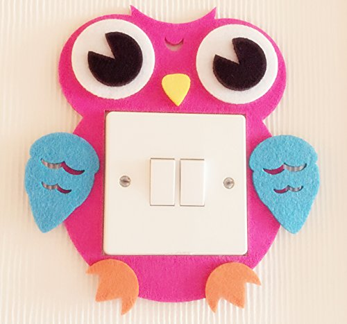 Super Cute Owl Light Switch Wall Stickers, Blue And Pink 2 Colours Available! Unique On Amazon! Kids Children Boys Girls Room Nursery Decor! Free Delivery In 2 To 3 Working Days! (Pink)